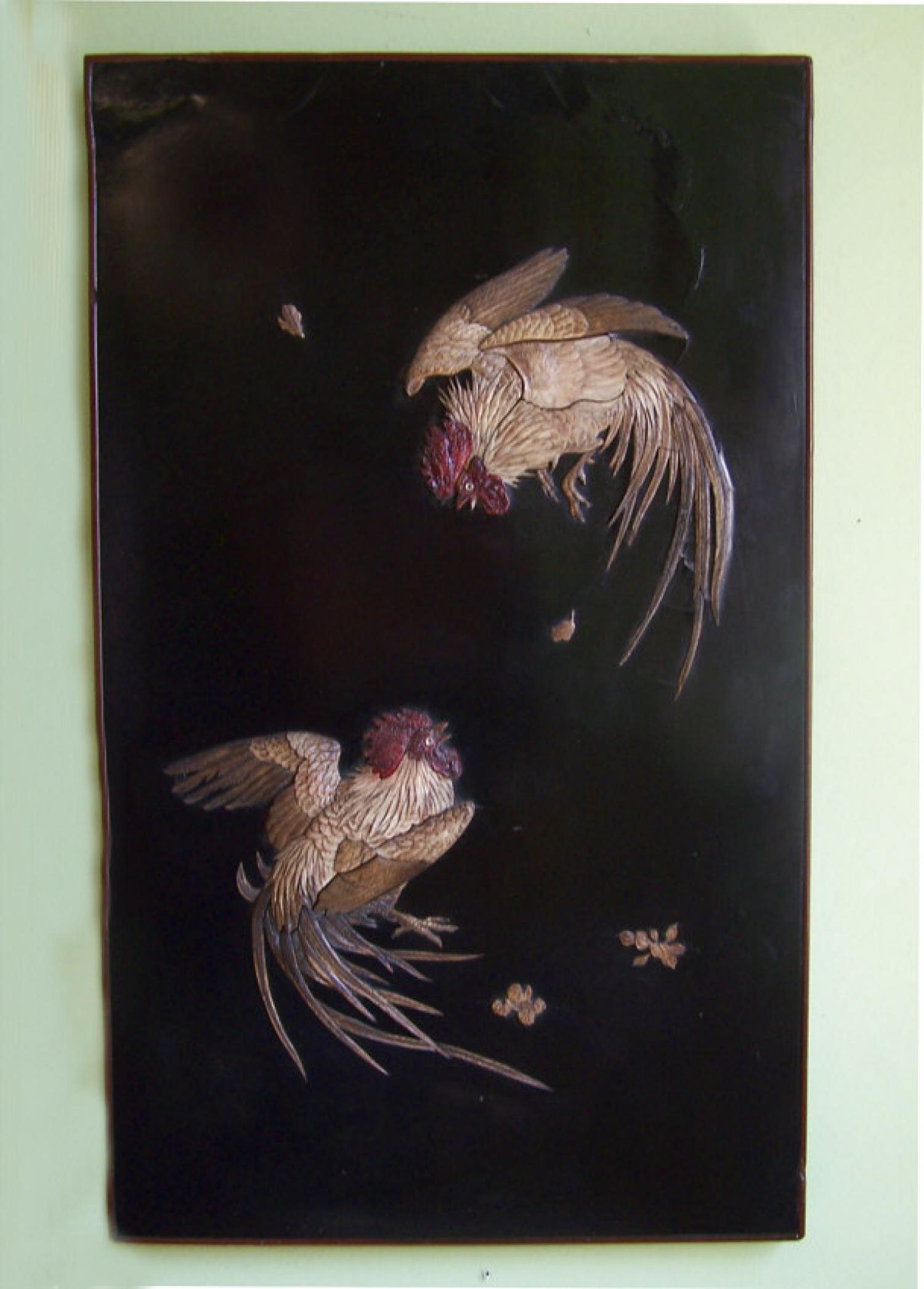 Japanese Edo period fighting cocks carved panel