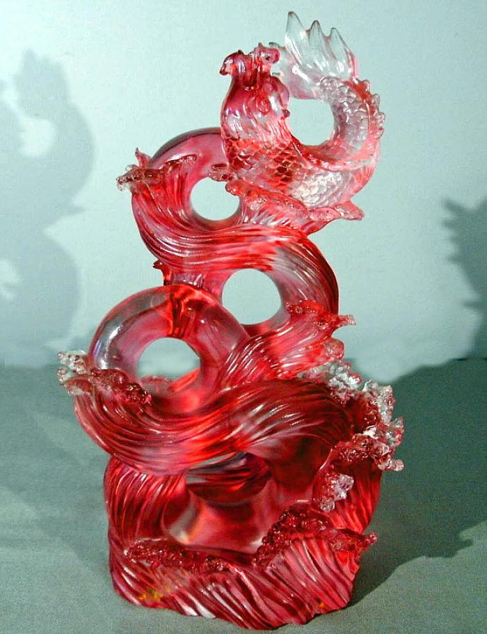 Vintage Liuligongfang art glass sculpture Koi riding waves