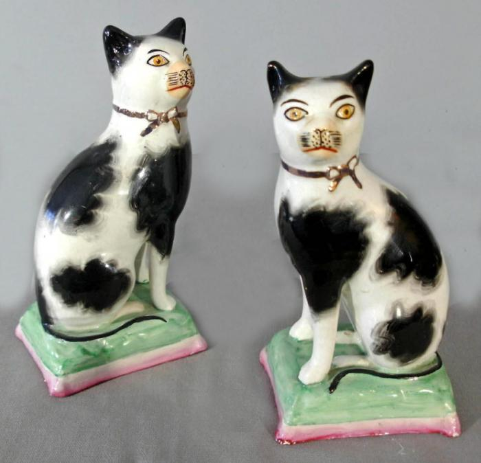 pair of Staffordshire Potteries standing cat figures c1910