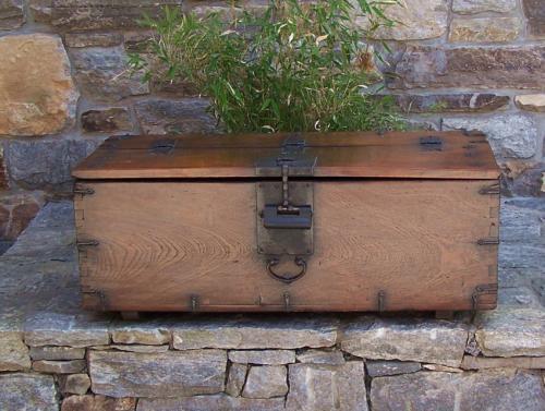 Korean late Joseon Dynasty Zelkova wood coin money box