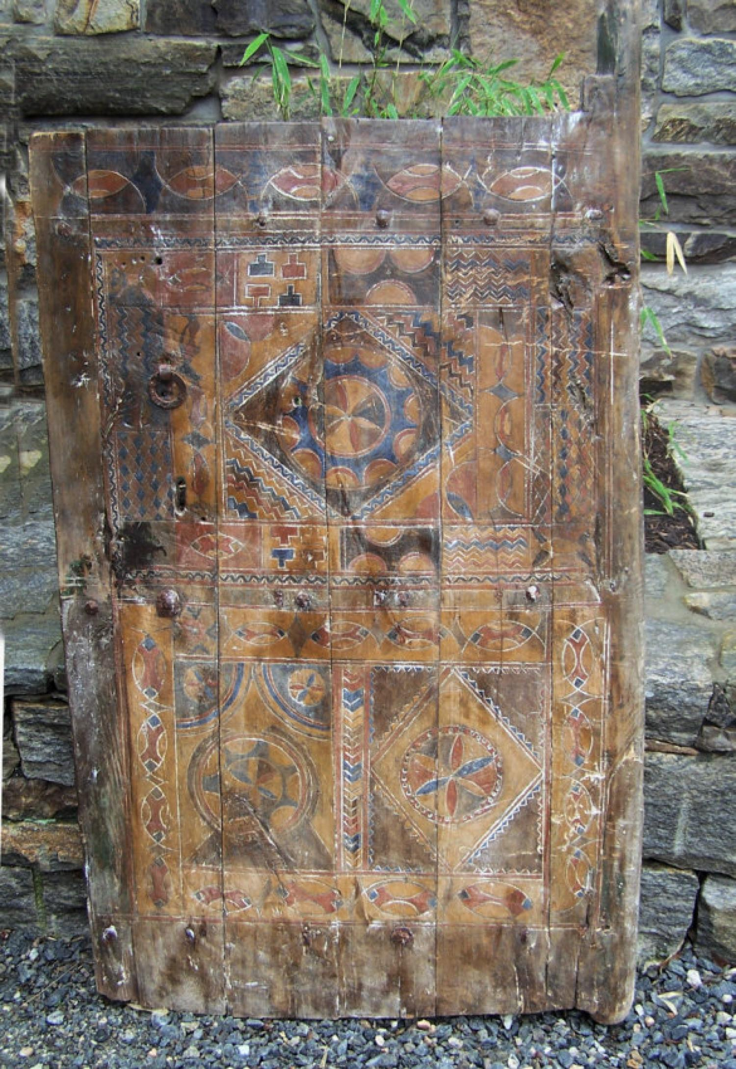 Antique Moroccan carved and painted door