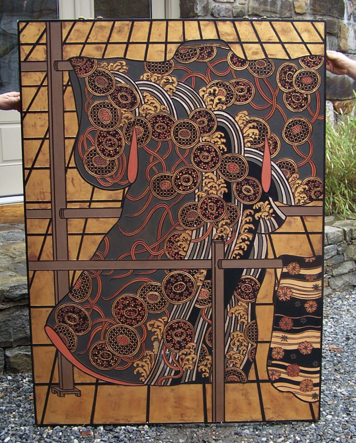 Japanese kimono design wall panel