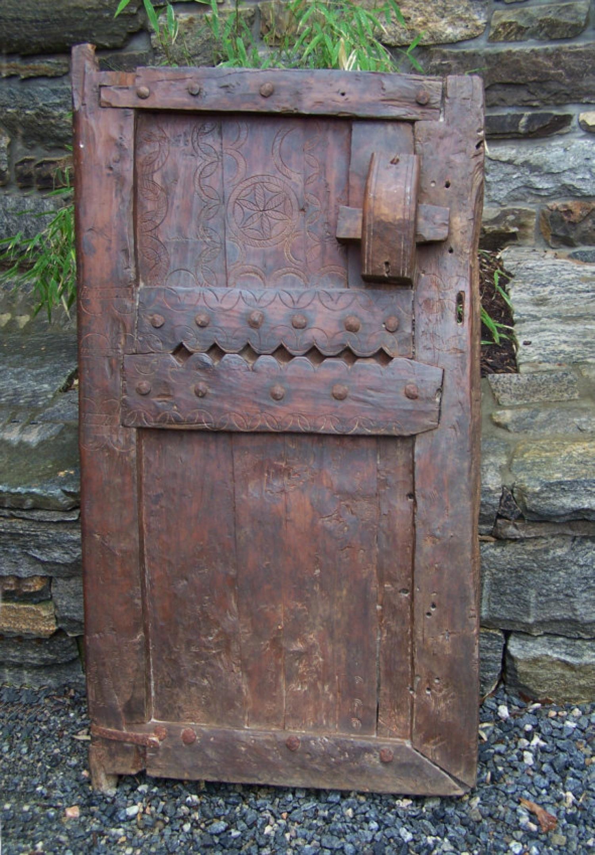 Antique Moroccan carved wood door