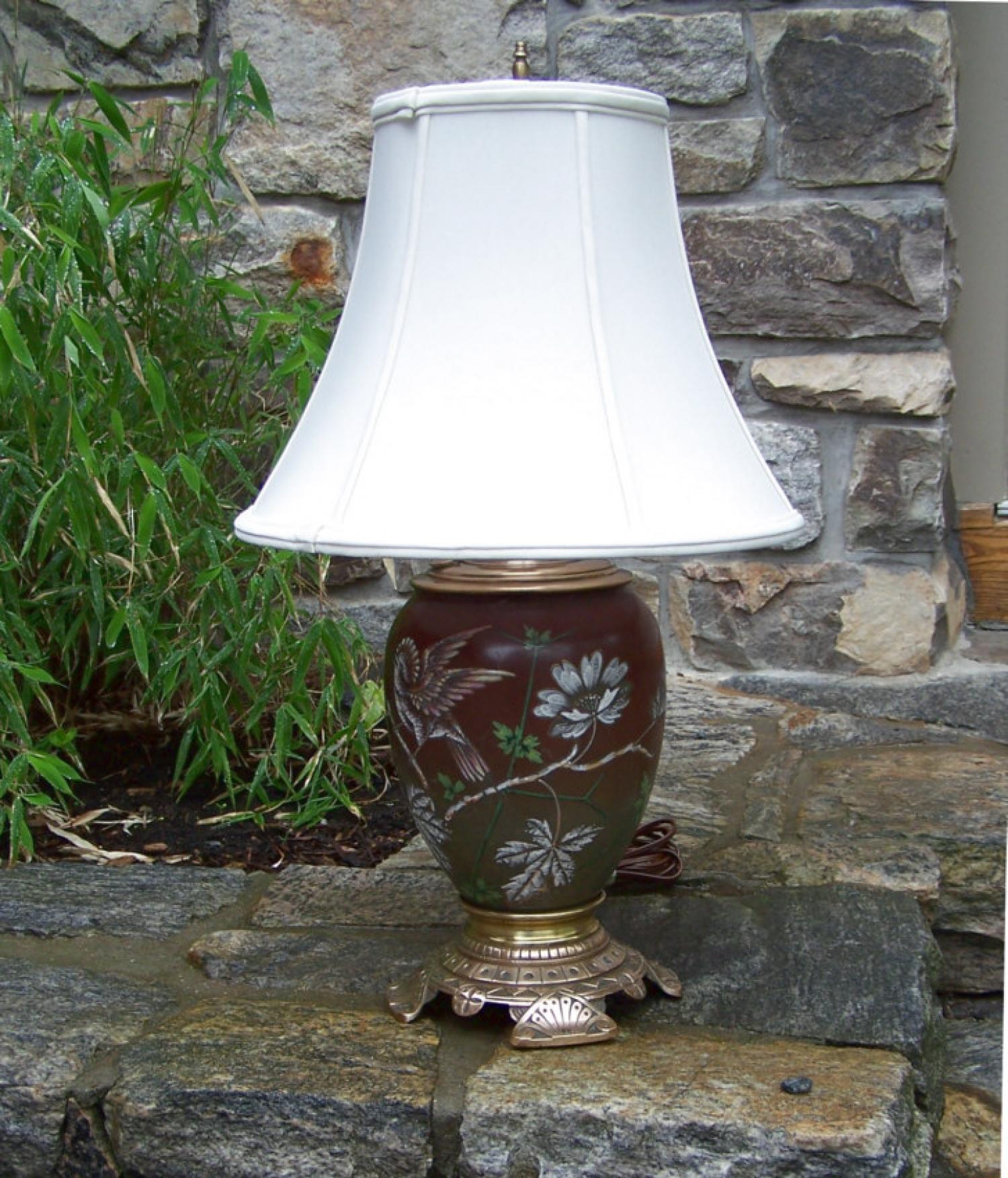 American Aesthetic movement kerosene lamp electrified c1875