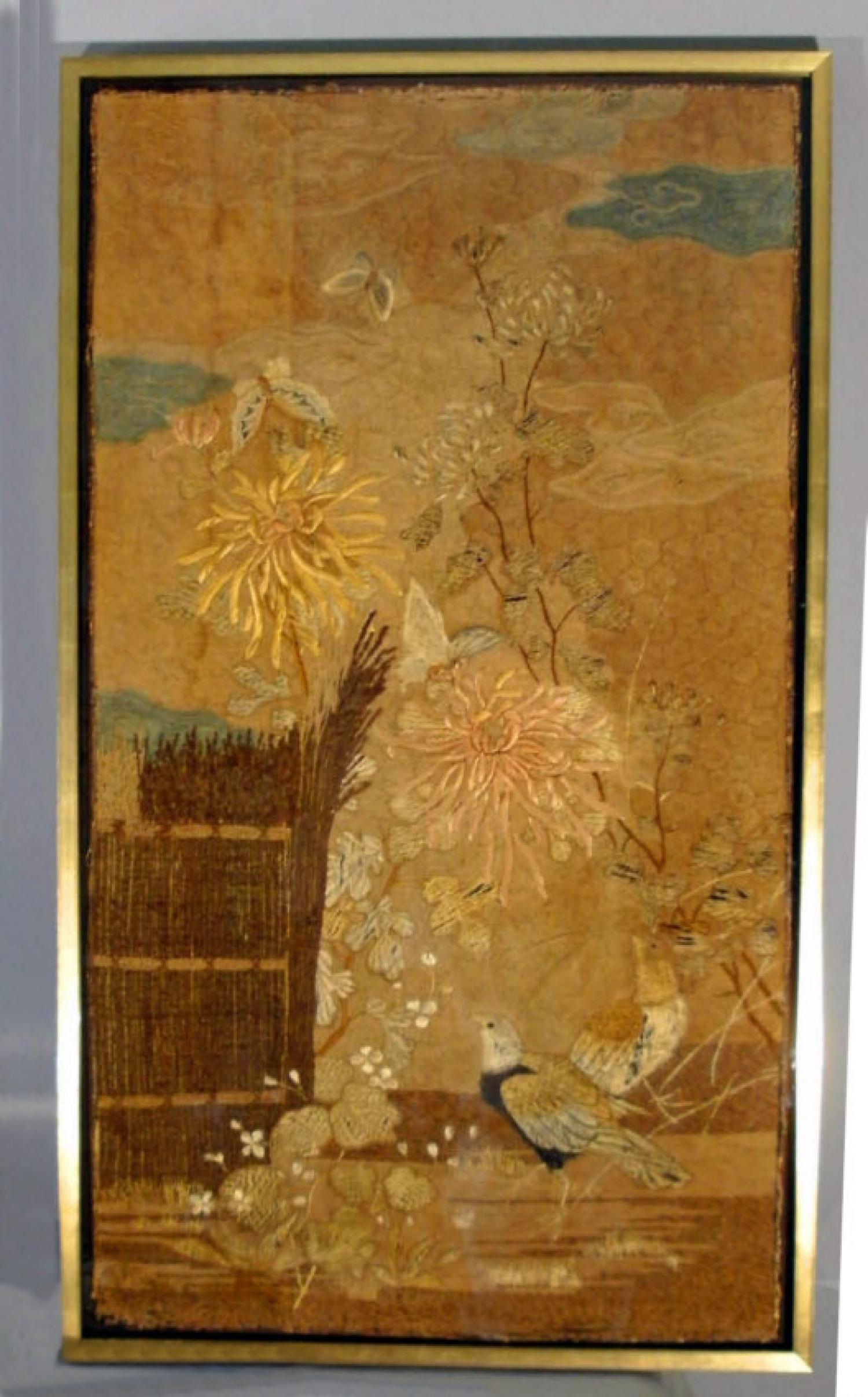 Chinese couched silver wrapped embroidery classic oriental garden scene