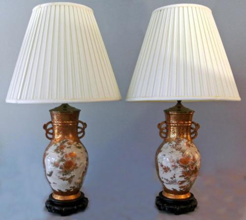 Japanese Kutani porcelain baluster shape vases lamped c1870