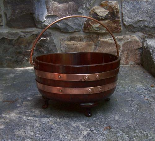 English copper and mahogany dish bucket c1900