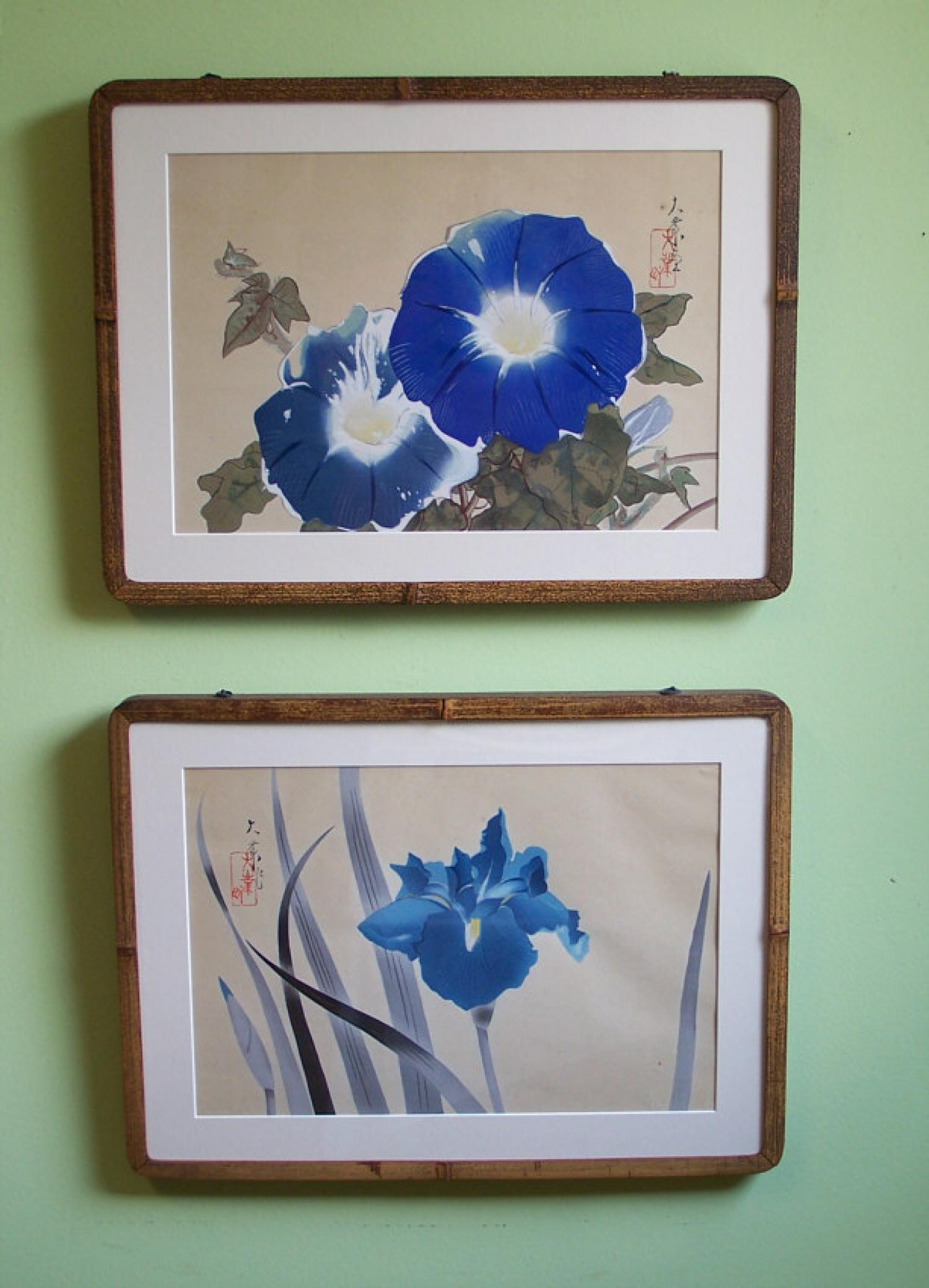 Pr Japanese floral wood block prints Taigyo c 1930