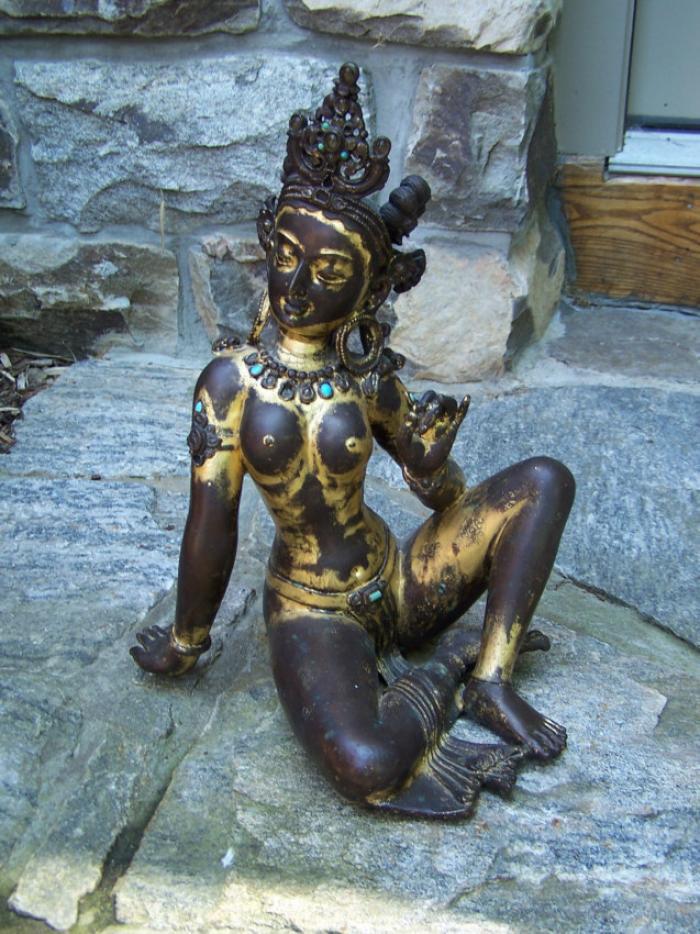 Vintage Indian gilt bronze seated female deity