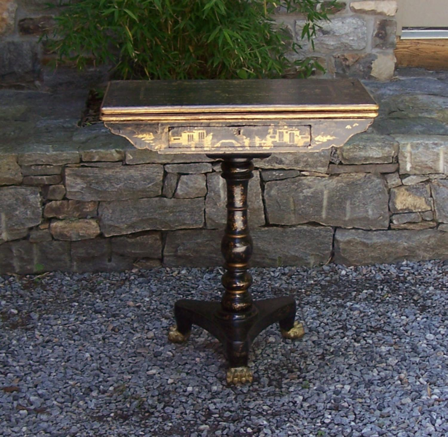 Chinese Export lacquer card table with drawer c1820