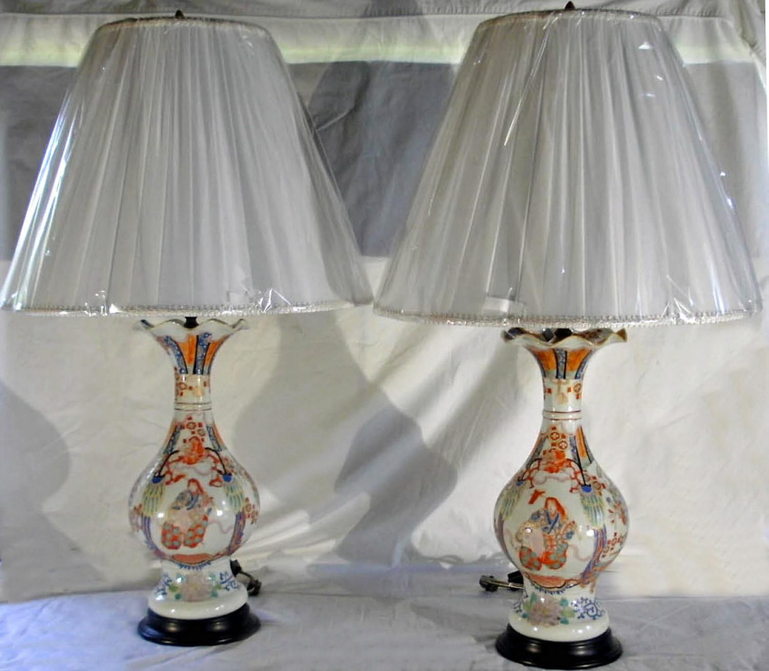 Pair Japanese Arita figural vases c1870  made into lamps