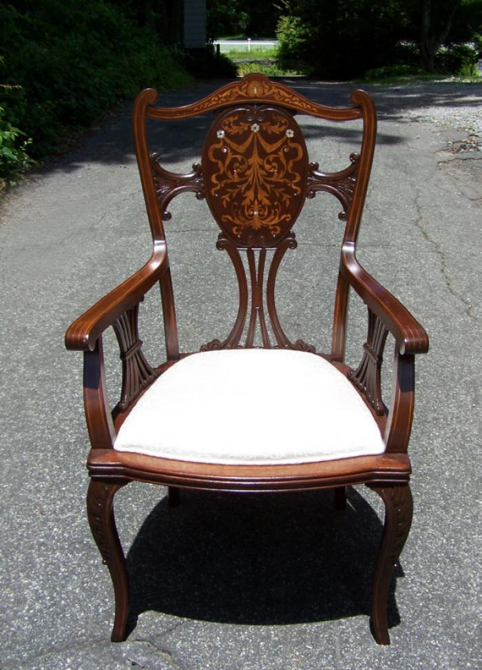 R J Horner inlaid mahogany desk chair c1885