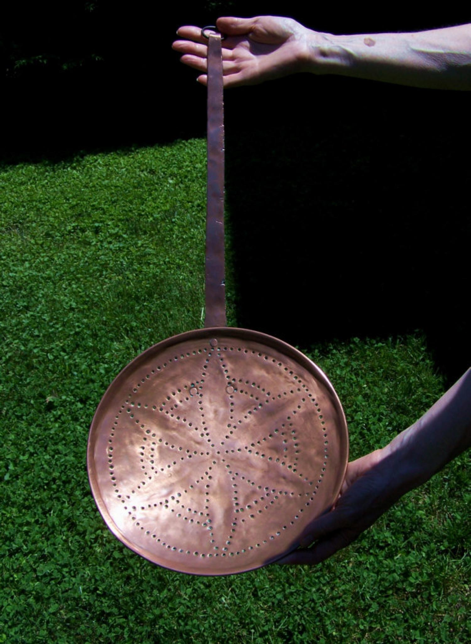 Large antique 19thc copper skimmer
