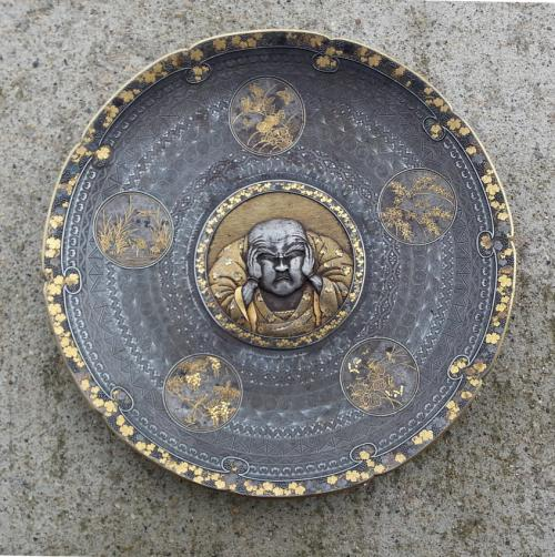 Japanese Meiji iron plate with gold inlay c1880