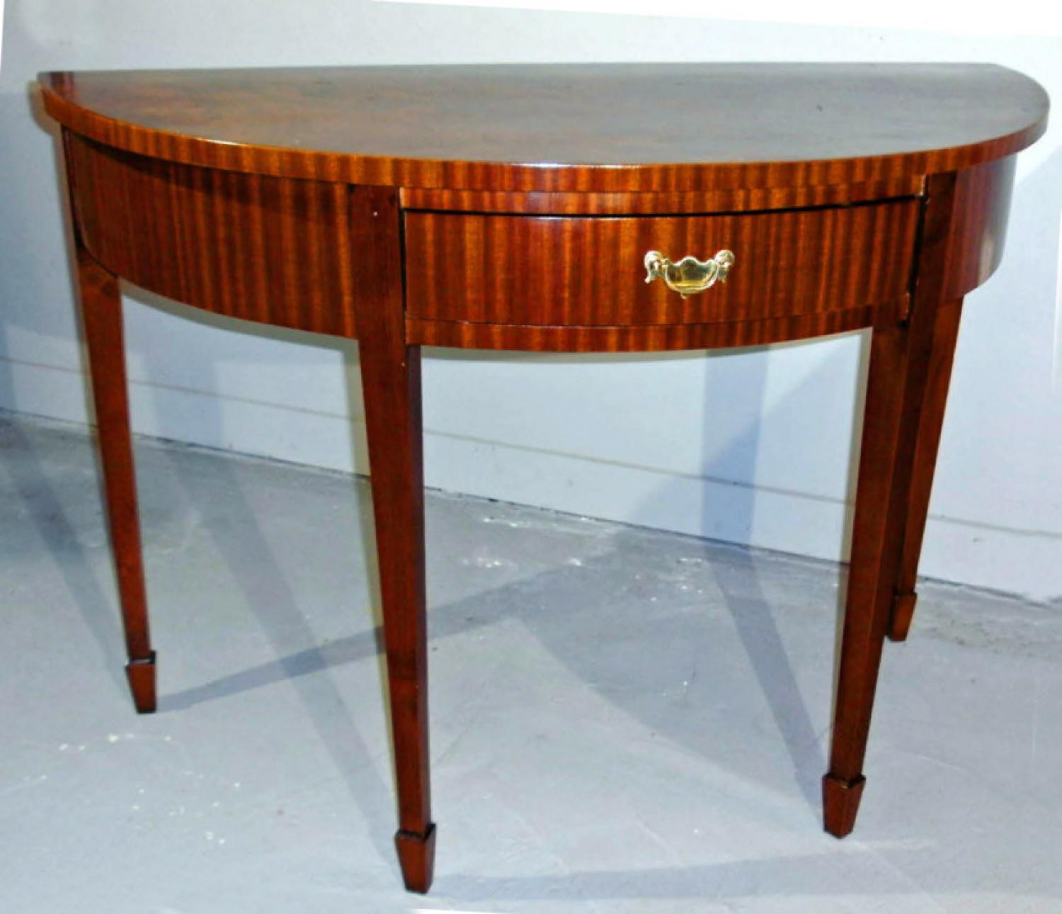English George IV mahogany demilune console serving table 1830