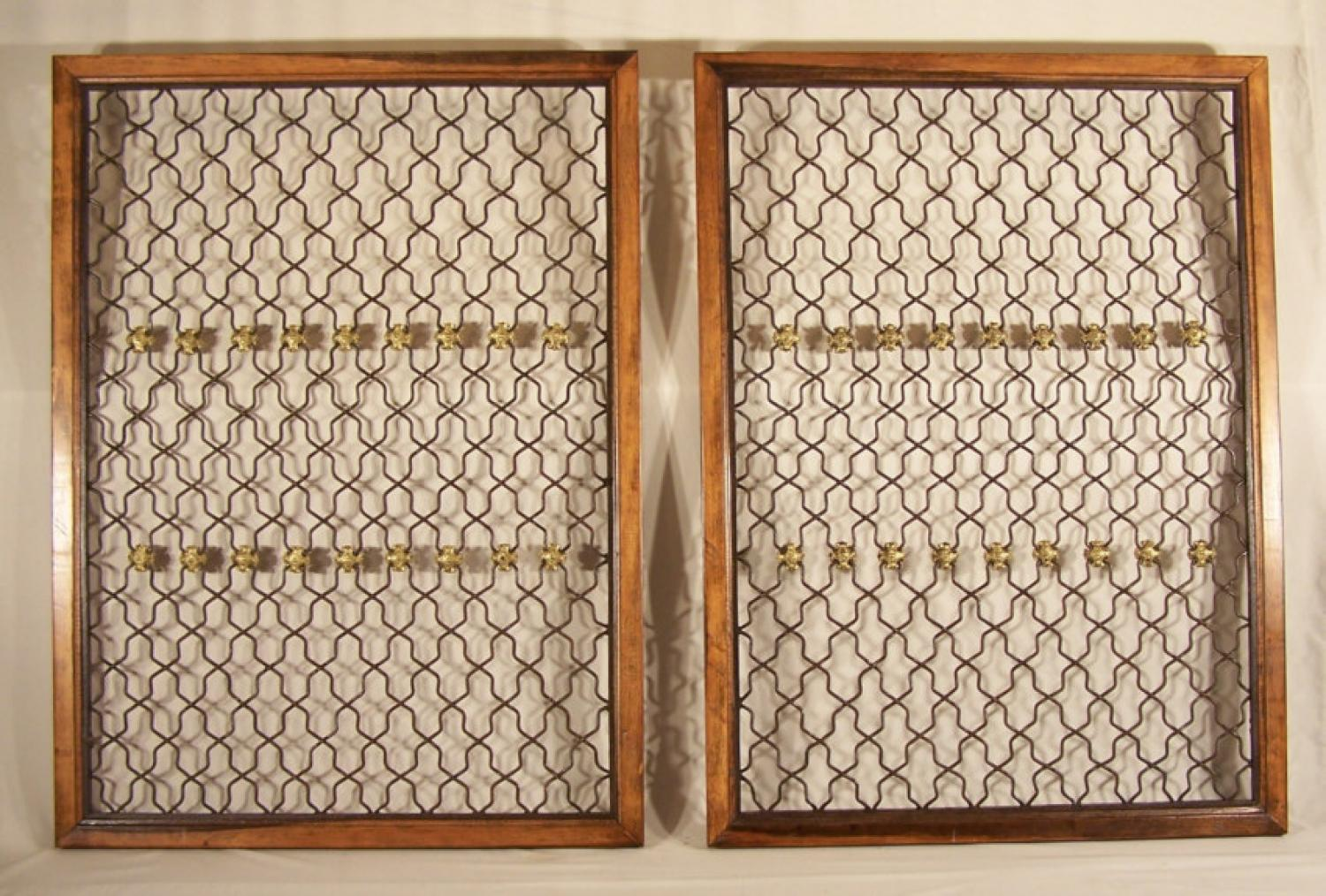 Pair double sided open twist iron and gilt metal windows c1870