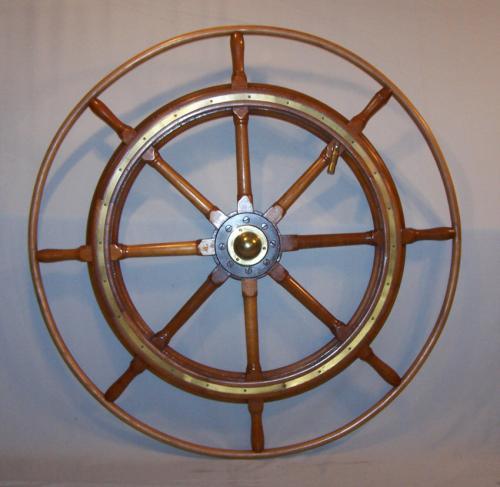 Antique bentwood rim teak ships wheel C1880