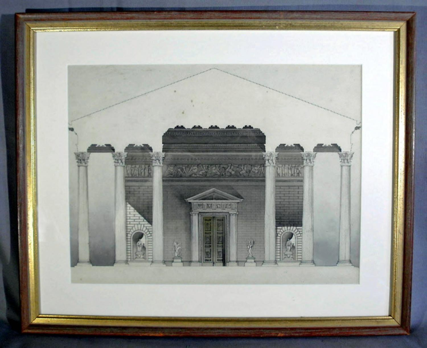 Companion English architectural engravings of neoclassic building  c1820