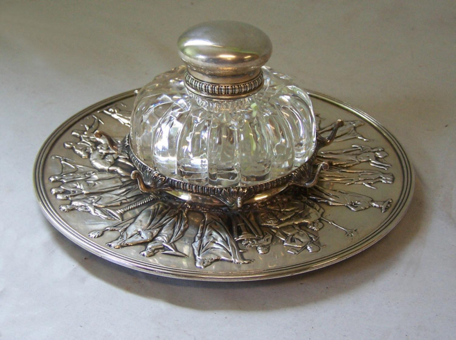 Tiffany Co Makers sterling silver desk inkwell and pen holder c1890