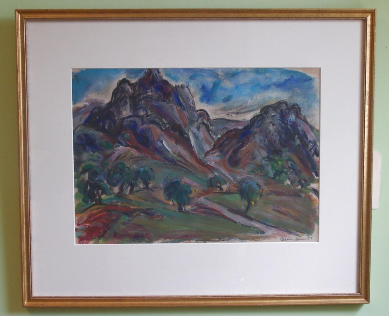 Marion Huse landscape oil painting of Les Beaux France c1947