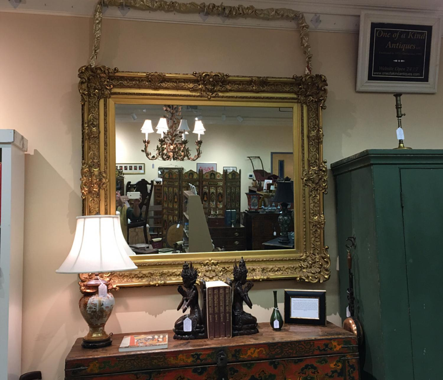 Large French Baroque gold leaf framed mirror c1900