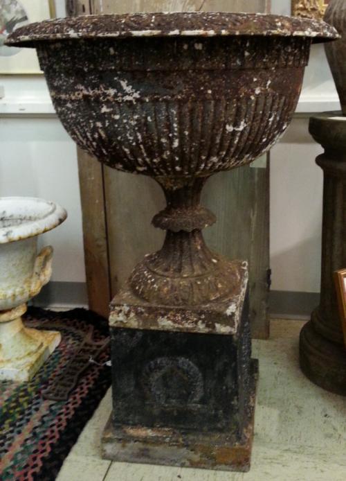 J W Fisk Iron Works urn planter c1870