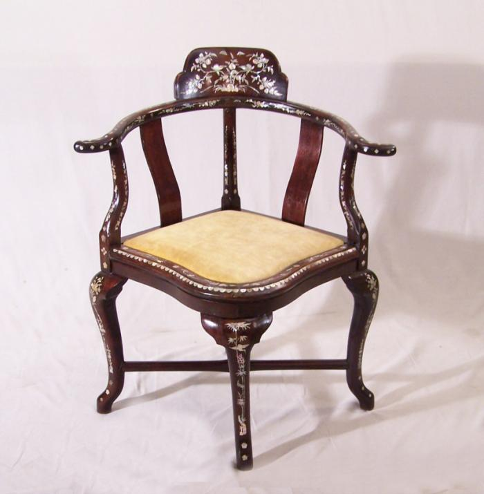 Malaysian rosewood corner chair inlaid with mother of pearl c1875