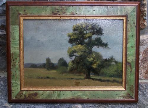 J C Burr impressionist landscape painting oil on artist board c1900