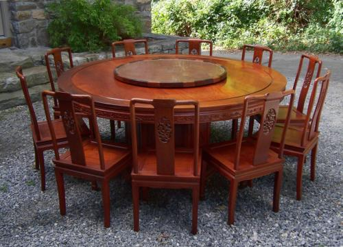 Chinese round dining table with ten chairs and sideboard rosewood c1980