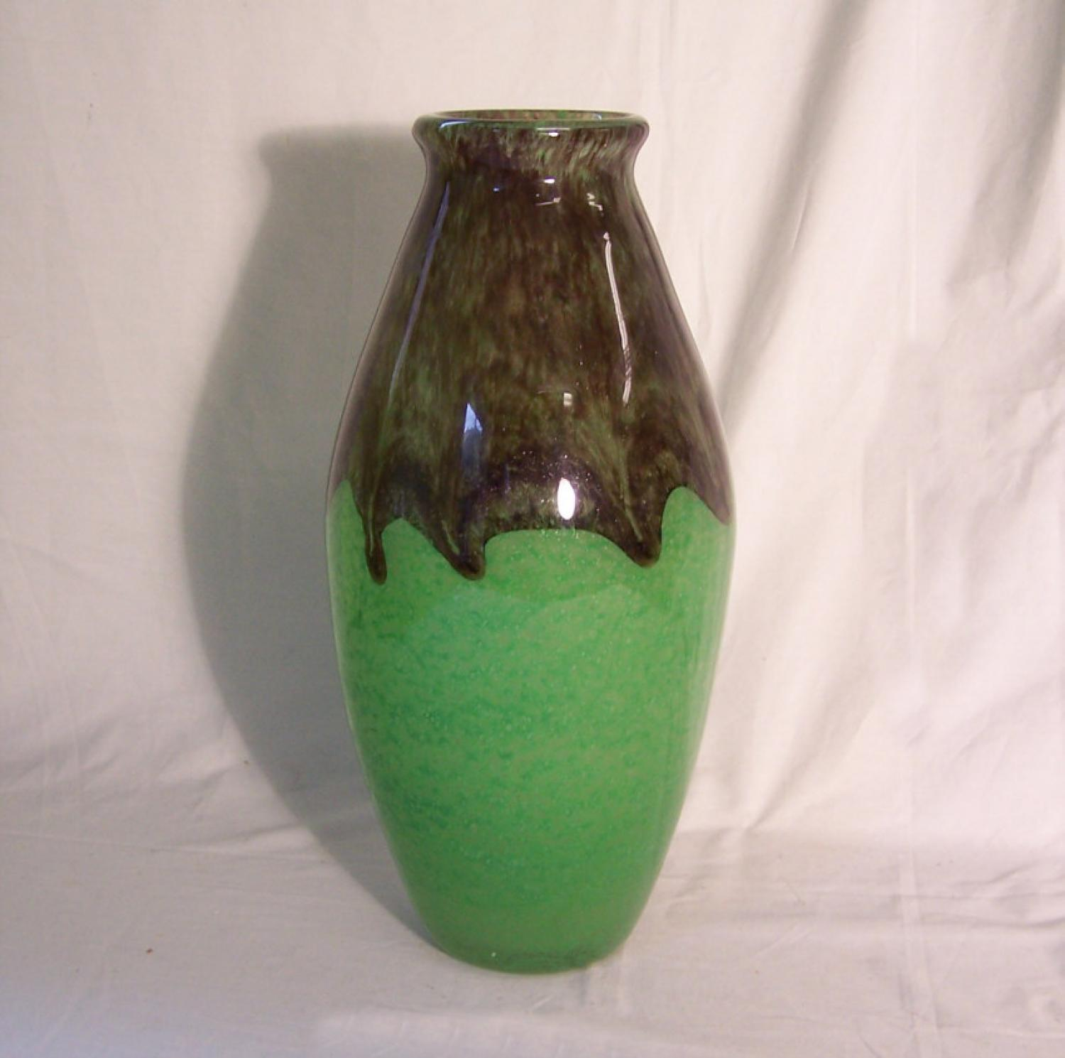 Degue French jade green art glass vase c1920