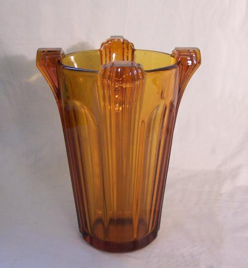 French Art Deco honey amber Art Glass vase c1920