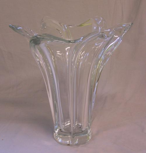 Large  French Art Vannes crystal vase  c1950