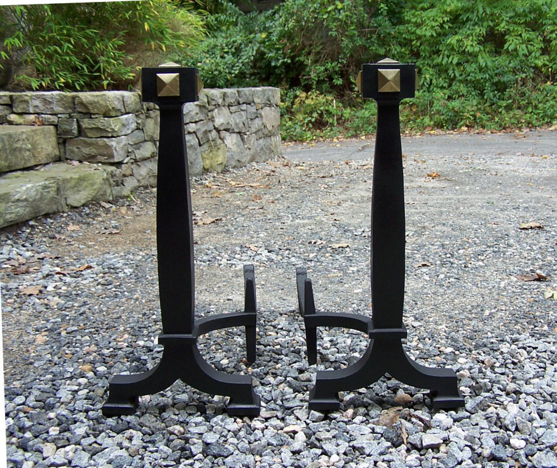 Bradley and Hubbard iron and brass fireplace andirons c1920