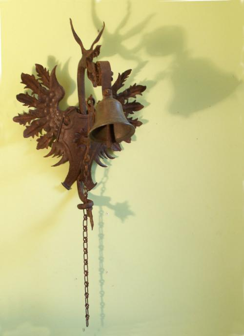 19thc winged griffin wrought iron doorbell