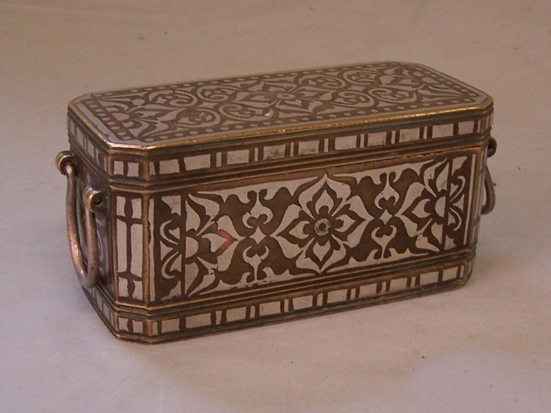 18thc Islamic brass and silver storage box