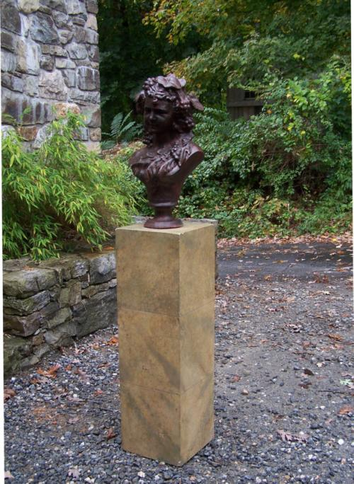 Victorian cast iron garden bust on pedestal c1860