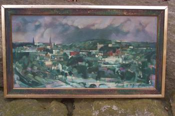 Image of Paul Warren Zimmerman abstract cityscape oil painting