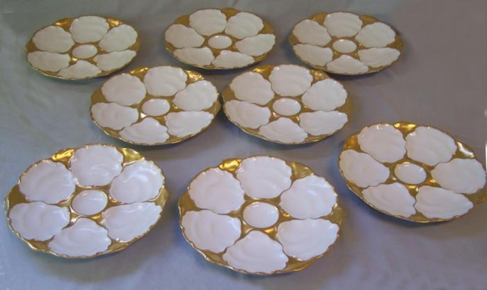 8 Limoges porcelain oyster serving plates Charles J Ahrenfeldt c1900