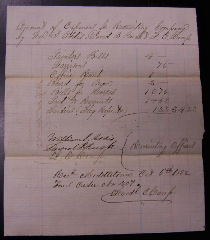 Civil War recruiting officers bill to Middletown CT 1862