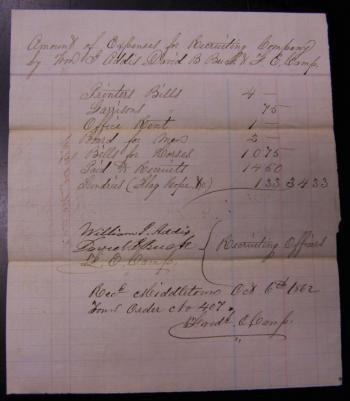 Image of Civil War recruiting officers bill to Middletown CT 1862