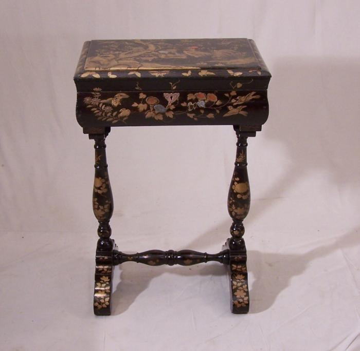 English lacquered sewing games table with birds c1885