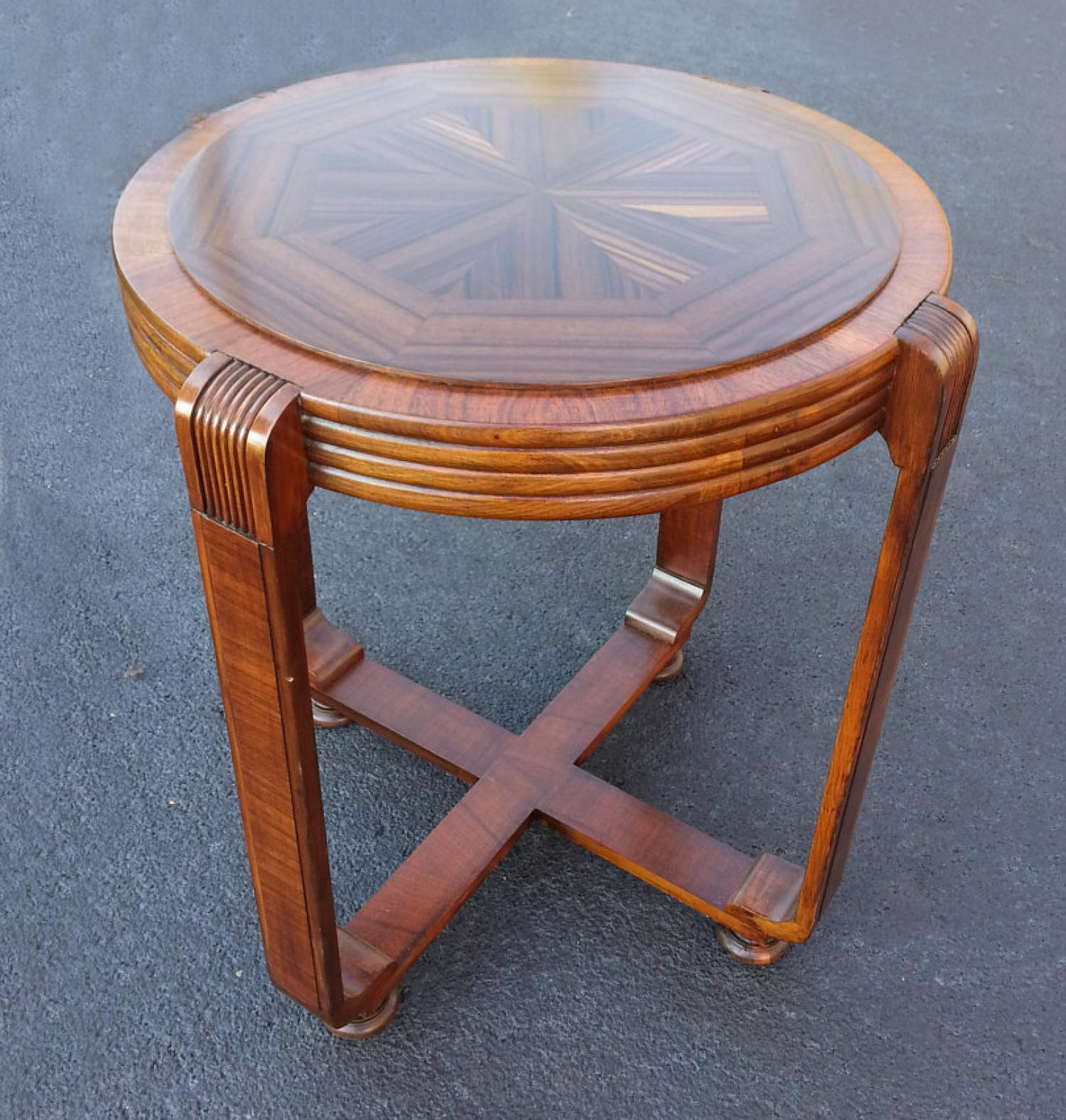 Art Deco inlaid walnut occasional table c1920