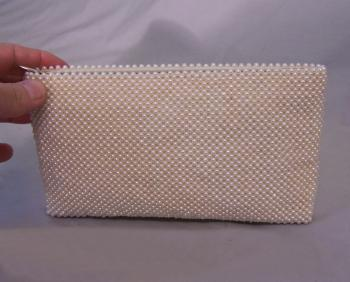Image of Vintage pearl and leather evening bag