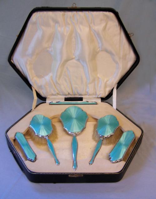 Art Deco enamel and sterling silver cased vanity set c1920