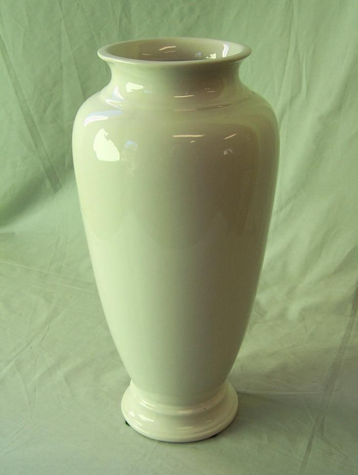 Large vintage Trenton pottery white vase with high gloss glaze