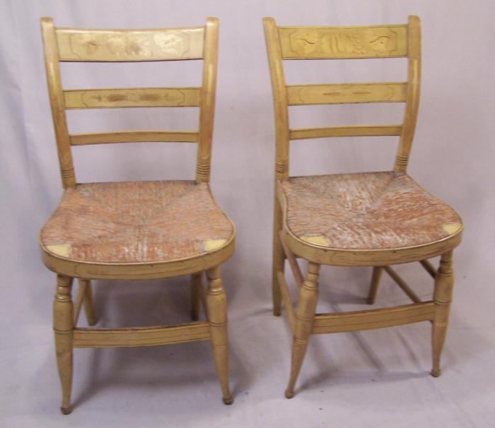 Pr of American country yellow painted chairs Sheraton  c1820