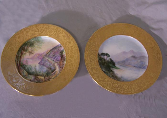 Royal Bavarian Hutschenreutner pair scenic porcelain plates