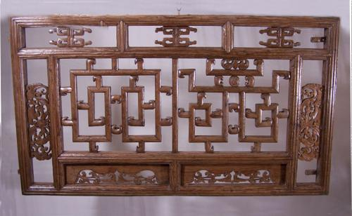 Antique Chinese architectural window screen with bats c1800