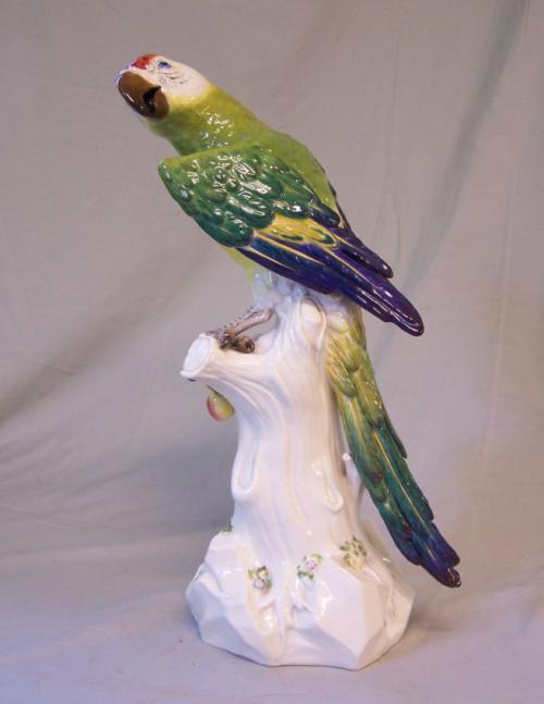 Large Meissen porcelain parrot
