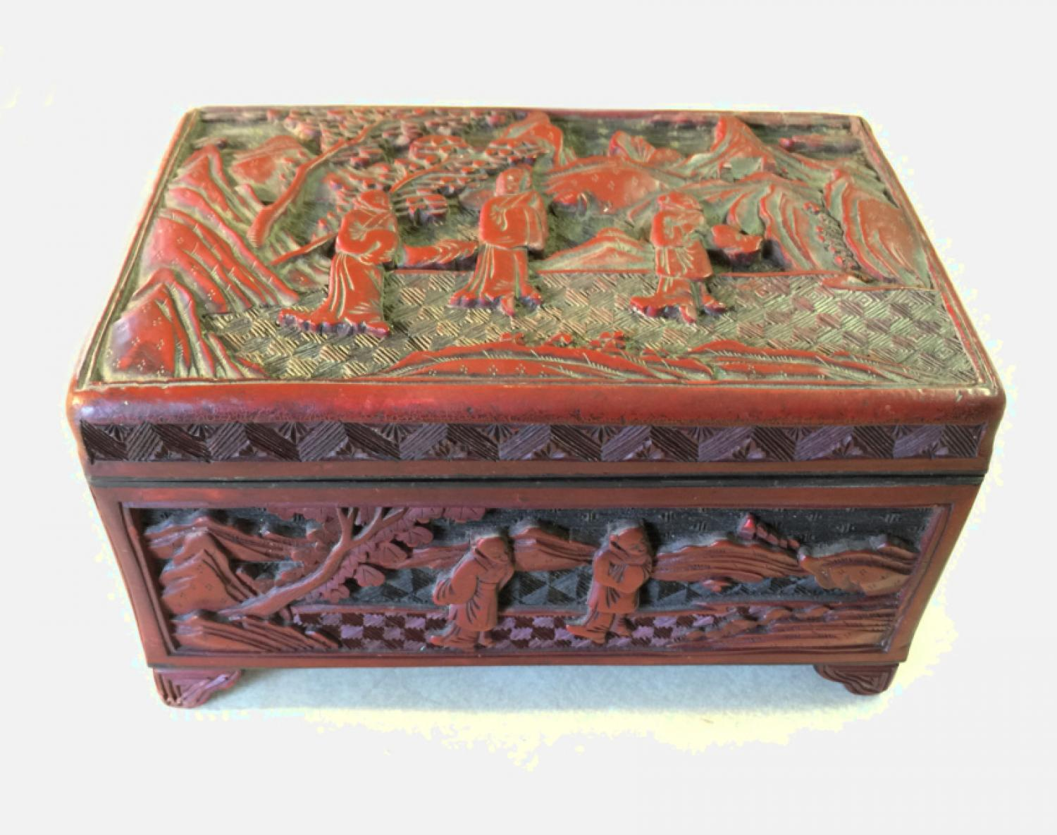 Antique 19th century Chinese Cinnabar storage box